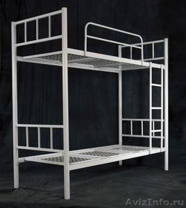 Двухъярусные железные кровати, для казарм, металлические кровати с ДСП спинками. - Изображение #2, Объявление #1480285