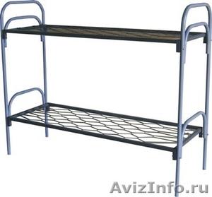 Двухъярусные железные кровати, для казарм, металлические кровати с ДСП спинками. - Изображение #5, Объявление #1480285
